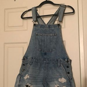 Abercrombie Distressed Overall Shorts